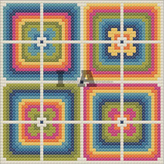 Geometric Cross Stitch Pattern, Repeating Pattern Cross Stitch, Bright, Modern Needlework, Scandinavian Cross Stitch