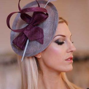 'Lydia' disk hat with arrow quill in berry and grey #winter #wedding #hats #guest #fashion #style #accessories #grey #berry #burgandy #hat #headpiece #fascinator #races #millinery #milliner #british