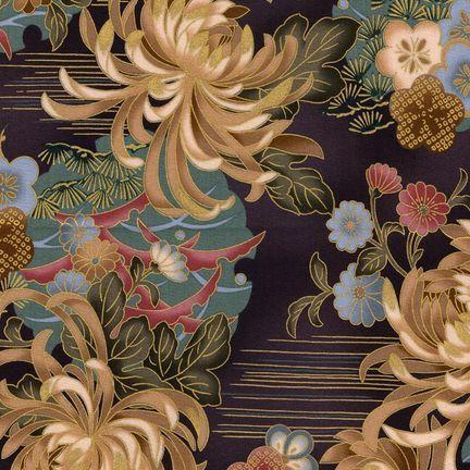 Robert Kaufman Fabrics: HRK-551102L-3 from Hyakkaryouran Sateen
