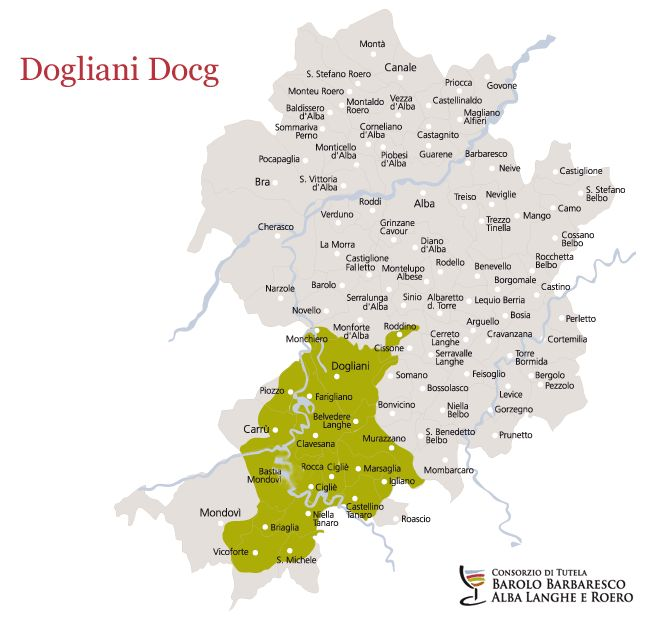 Dogliani Docg, the map of vineyards