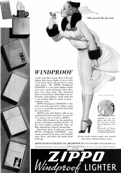 "Zippo Lighter (the company's first ad), ""Windy"" (1937) Bolles- 005  Note that in this ad, both his names are misspelled: Enoc Boles not Enoch Bolles. Soon after the first publication, this artwork began to appear without attribution and eventually was mis-attributed to Alberto Vargas. Today, people sell Windy items on eBay and other venues, thinking it's Vargas when it's actually (and obviously from the style) Bolles"