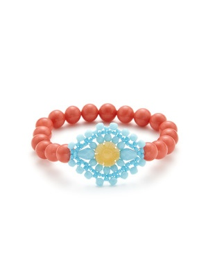 Coral! Beautiful.: Ases Beaded, Stretch Bracelets, Coral, Jewelry Design, Miguel Ases, Ases Pink, Ases Jewelry, Beaded Jewelry, Blue Stretch