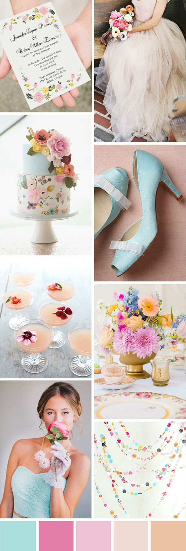 pretty spring  pastel color wedding ideas with wonderful combos
