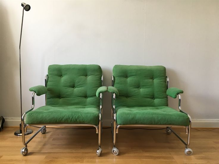 Retro 70-tals fåtöljer på hjul på Tradera.com - Fåtöljer för vardagsrum
