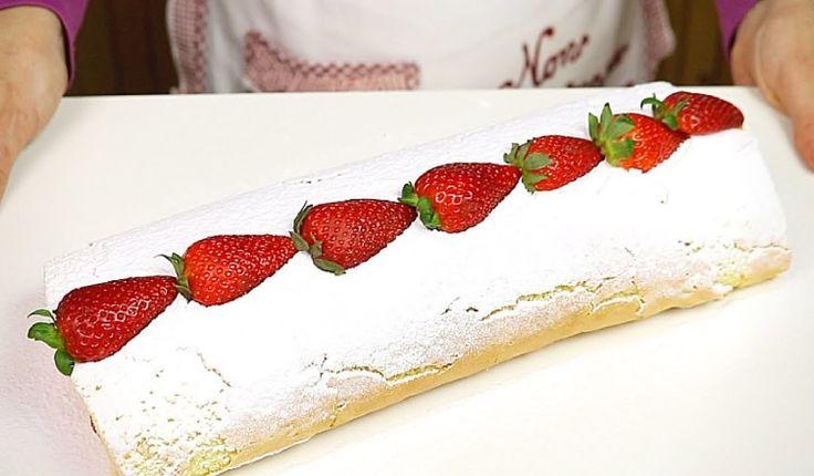 ROTOLO ALLE FRAGOLE E PANNA RICETTA FACILE – Strawberry Roll Cake Easy Recipe