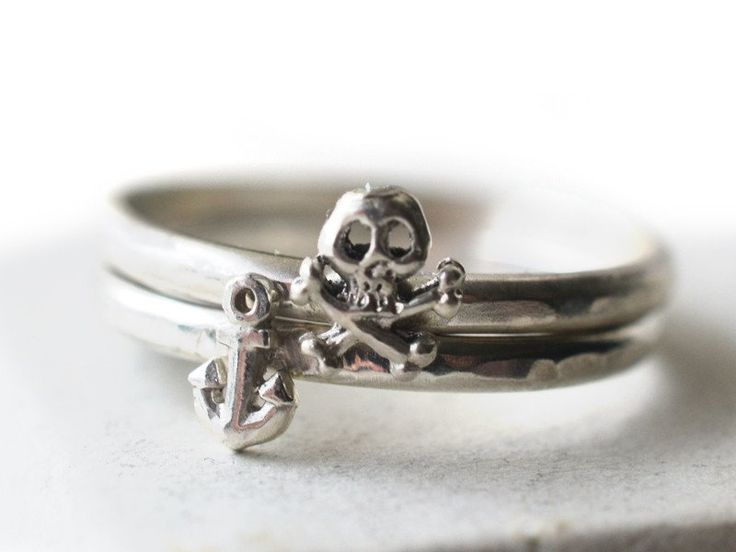Handmade Tiny Silver Pirate Charm Stacking Ring Set, Skull & Crossbones, Anchor Jewellery