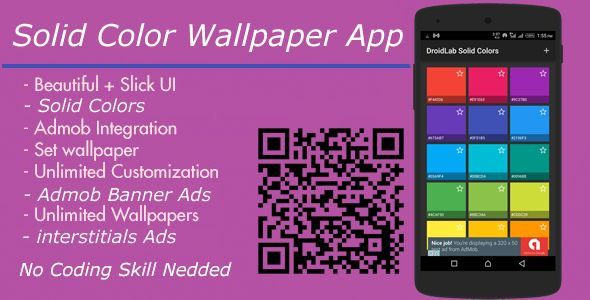 nice Strong Colors Wallpaper App + Admob interstitial And Banner Advertisements (Complete Applications)