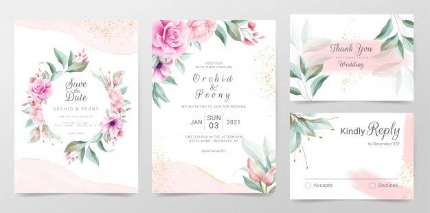 Elegant Wedding Card Template With Beautiful Roses Wreath Vector