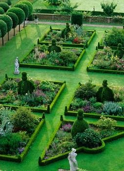 Overview from roof of section of parterre garden with Buxus edged flowerbeds - Hatfield House, Hertfordshire
