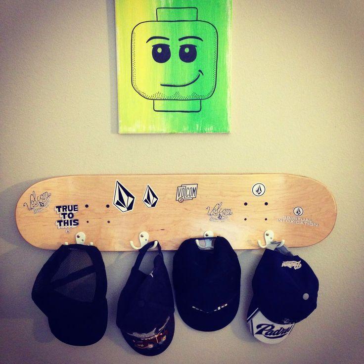 DIY Skateboard Hat Rack