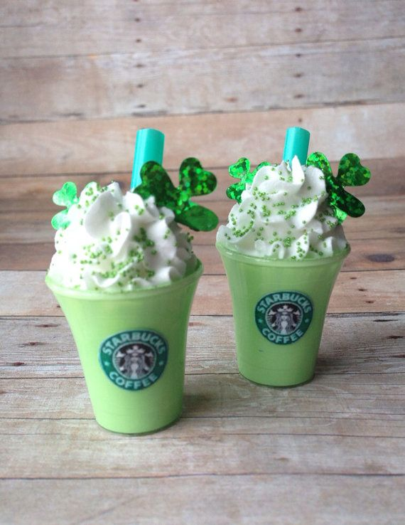 """American Girl 18"""" doll Fake Miniature photo prop - One Saint Patricks Frappuccino Smoothie"""