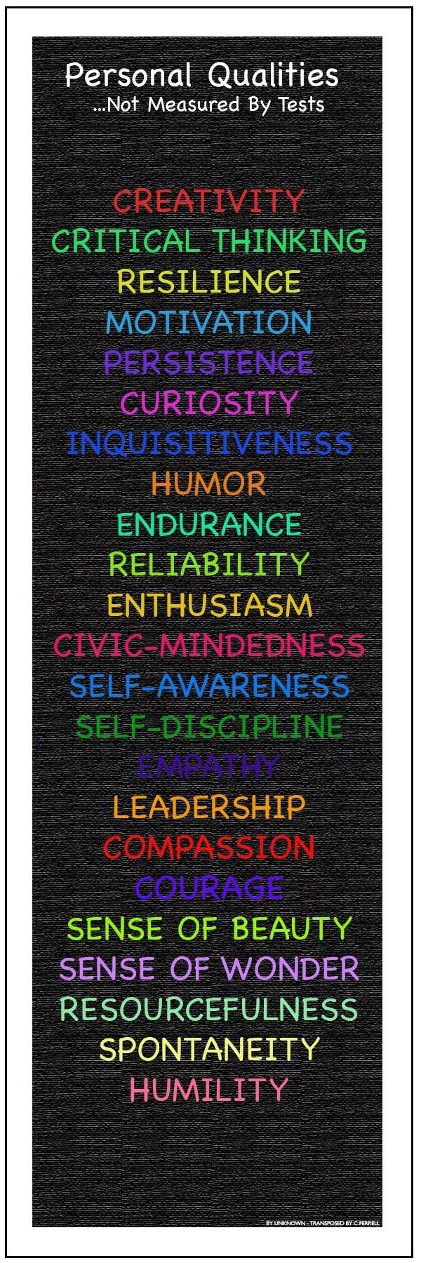 Personal Qualities.. Not Measured by Tests. This was recreated from a post found here.