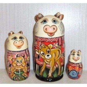 Funny Cow Family with a calf 3set  #russiandoll #matryoshka #dollsindolls #decor #traditional #kids #toys #handmade