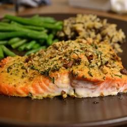"Baked Dijon Salmon | ""Salmon fillets brushed with honey and Dijon mustard, coated with bread crumbs and baked."""