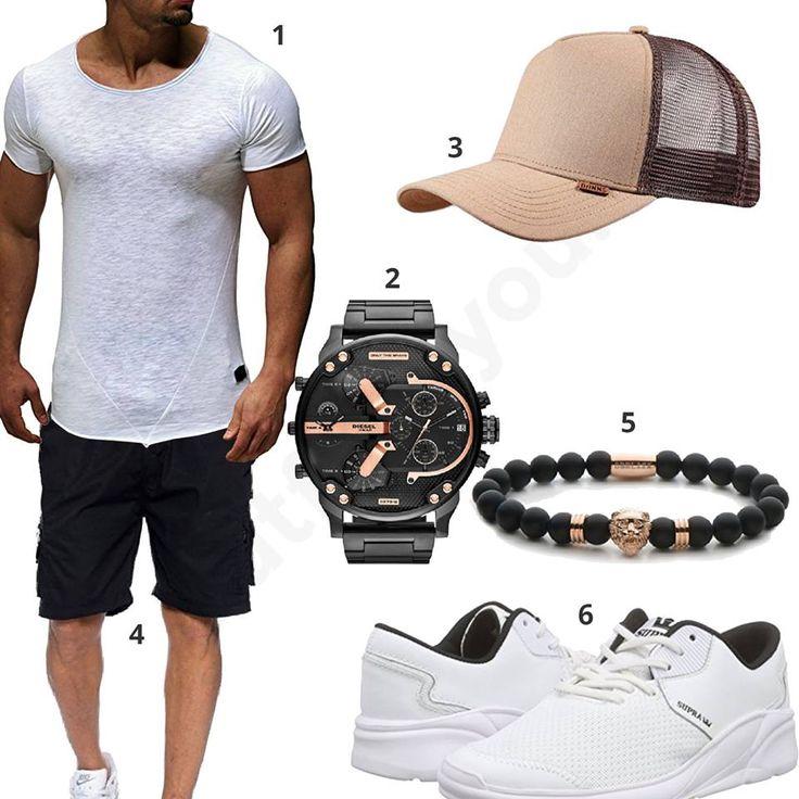Männer-Outfit mit weißem Leif Nelson XXL-Shirt, Djinns Cap, Diesel Chronograph, schwarzer Freeman Shorts, Obelizk Lion Armband und Supra Sneakern.