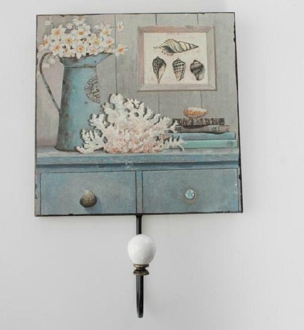 Colgador de pared de madera vintage porta llaves for Perchas para colgar llaves