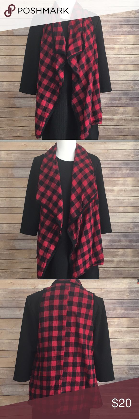 Buffalo plaid waterfall cardigan. Buffalo plaid / buffalo check. Black piping. Thin vest great for layering. Fits a variety of sizes due to style but probably best for 10 to 14. It is cotton. twenty second Tops