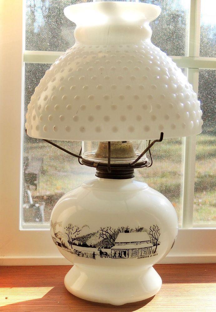 Vintage Oil Lamp Currier Ives Hobnail Milk Glass Shade Lamp Milk Glass Lamp Milk Glass