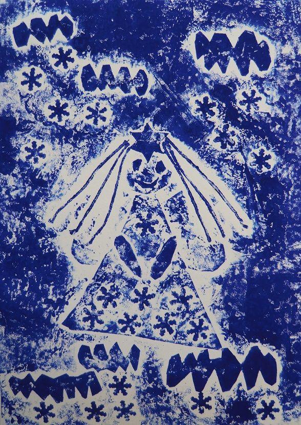 ANDĚLÍČCI - zachytit podstatné znaky anděla a provést tisk ze vzniklé koláže (tisk z papírové koláže)