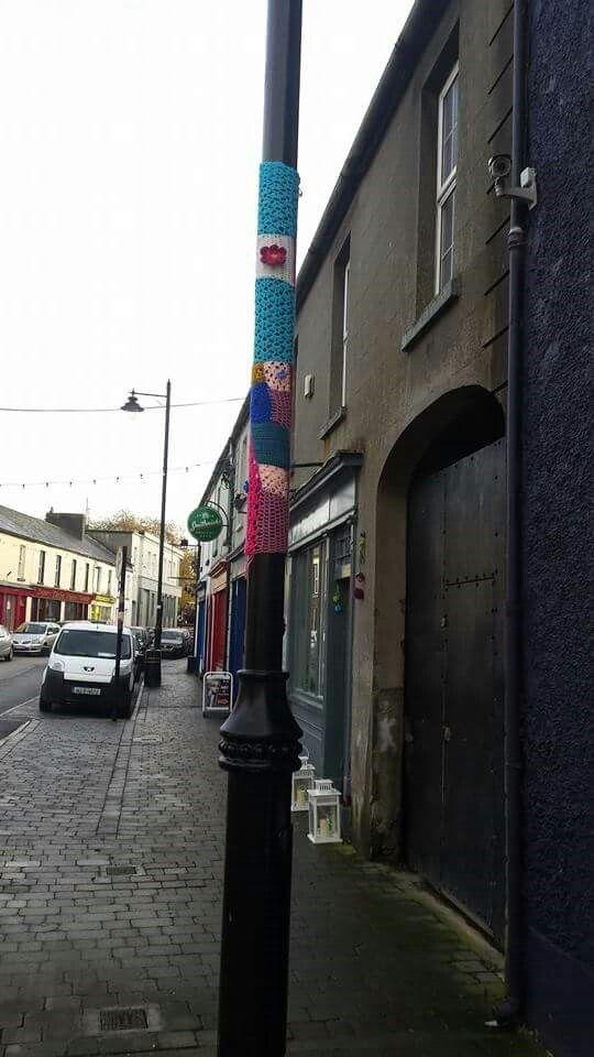 Yarn bombing on Connaught Street in Birr.