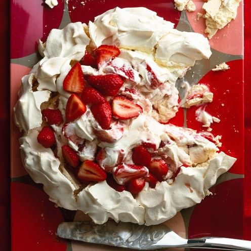 This gorgeous dessert was allegedly first made in Australia in 1935 for the Russian dancer Anna Pavlova. We love it with whipped cream, crème fraîche and a splash of fruity liqueur