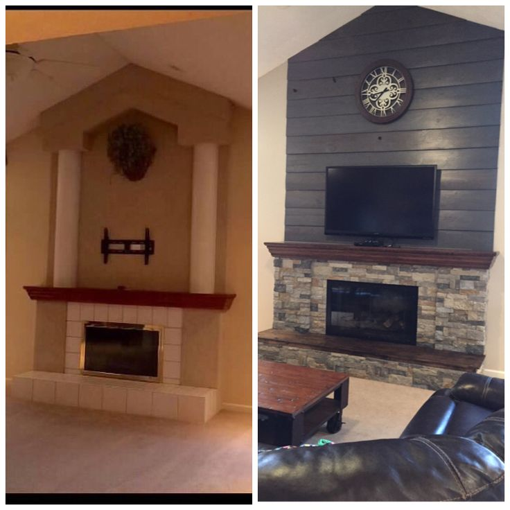 Fireplace Diy Makeover Old Barnwood Shiplap Cleaned Up