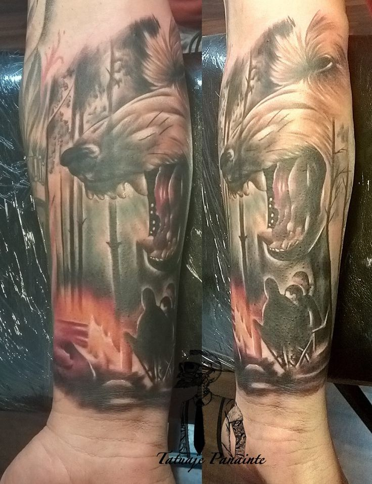 #Wolf  #Tattoo in the #forest