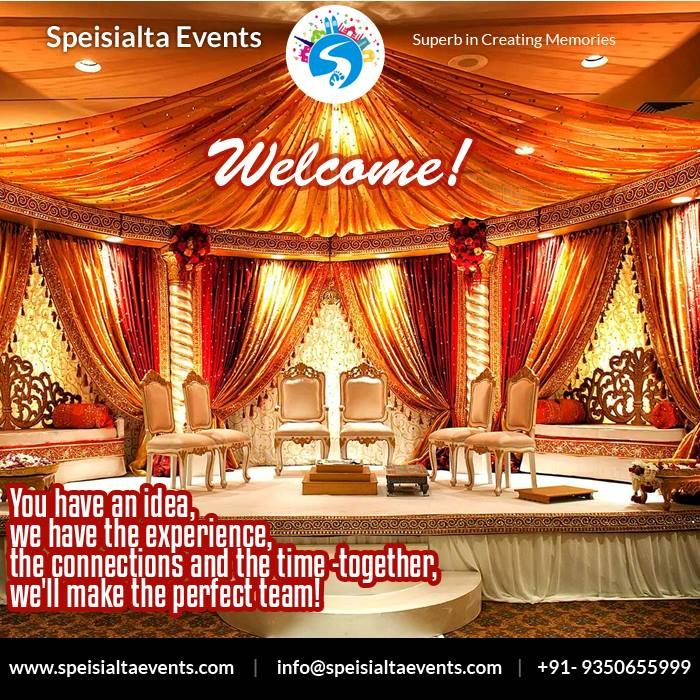 """You have an idea, we have the experience, the connections and the time-together,we'll make the perfect team""  #speisialtaevents # events #decor #decoration #weddingplanner #evenorganizer Visit Our Website: www.speisialtaevents.com For Booking Call:+91-9350655999, +91-9350455999"