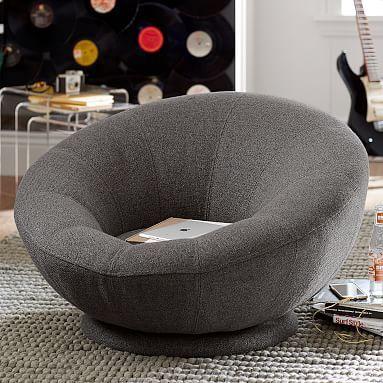 Tweed Groovy Swivel Chair Charcoal Furniture Lounge
