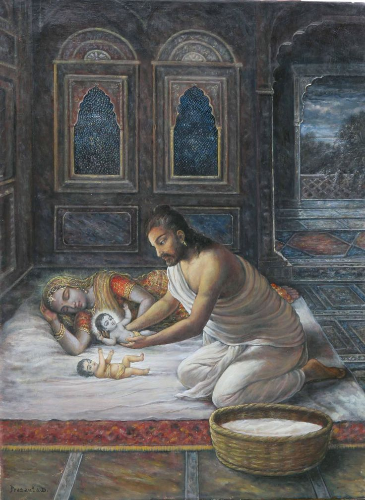 On the other side, he went to the place of Nanda Maharaja situated in Gokula, where he saw that all the cowherd men were fast asleep. He took the opportunity of silently entering into the house of Yasoda, and without difficulty he replaced his son, taking away the baby girl newly born in the house of Yasoda. Ch 3: Birth of Lord Krsna