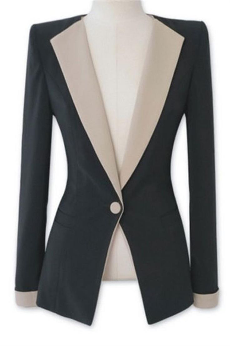 Material: Cotton & Polyester.This is a black blazer with a notch-lapel and single-button fastening. The blazer has off-white lapels and cuff trims.
