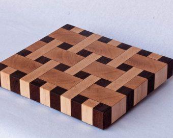 Walnut and Maple end grain basketweave chopping board