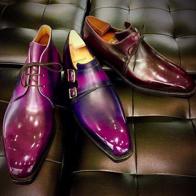 A great trio of Corthay shoes with many different shades of purple ! Thanks to @maison_corthay_japan for this nice picture.  #Paris #Chukka #Twin #Arca #Aubergine #Purple #Shoes #MadeInFrance #TheFinestShoes #LaCouleurCestCorthay #Shoeporn