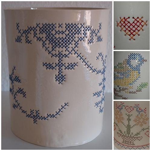 Embroidered ceramic: Embroidered Ceramics, Crosses Stitches Porcelain, Keramik, Mnw Ideas, Ceramics Embroidery, Ceramics Livingsweetliv, Stitches Ideas, Crosses Stitches Ceramics, Keramiek