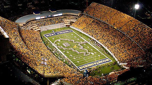 No place like Milan Puskar Staduim - home of Mountaineer Field - for a night game. Bring it on! Hail WVU!