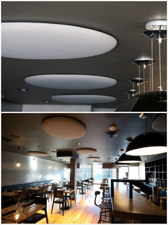 Wobedo acoustic Woolbubbles in white compliment the sleek, modern design of this restaurant while minimizing ambient noise and improving guest enjoyment. Improve your space. #AcousticPanels #NewDesign #AcousticsWithDesign