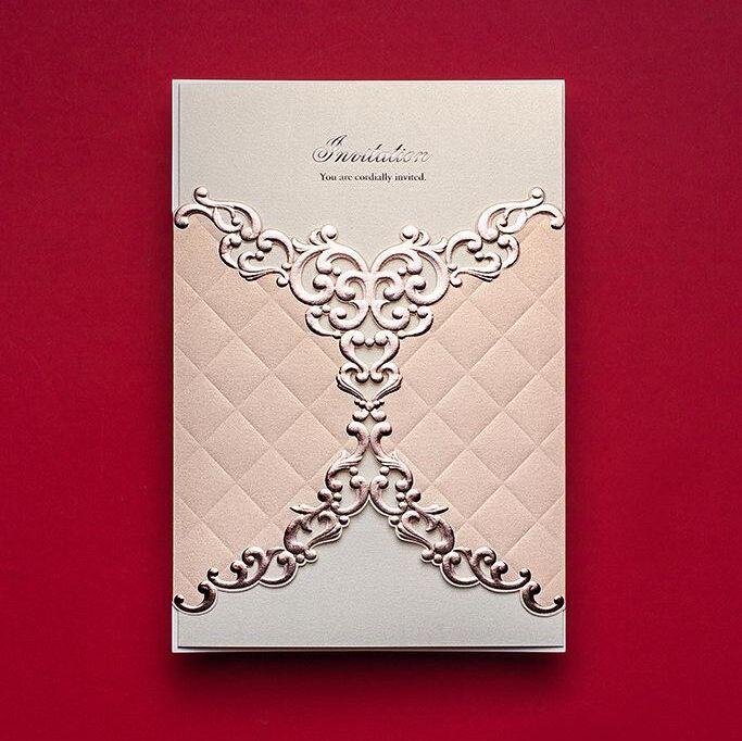 Embossed Pink Wedding Invitation Romantic Invitations With Customized Invita Wedding Invitations Online Quality Wedding Invitations Create Wedding Invitations
