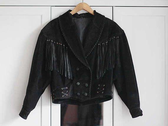Vintage Suede Jacket Women Black Natural Leather Hippie Boho