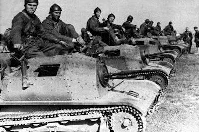 Polish tankettes on parade.