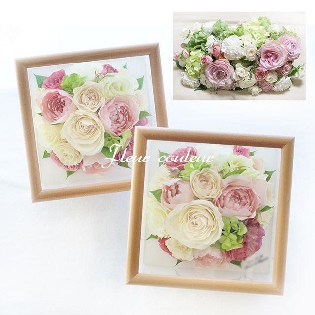 結婚ご披露宴#メインテーブル 装花よりプチサイズへの保存加工を承りました☆ お預かりしたたくさんの花材からバラを中心にとのリクエストでラウンドにデザインさせていただきました♡美しくドライアップしたお花から優先的に採用して作品を仕上げていきます💕  花嫁さまよりメッセージをいただきました。 『予想以上に素敵な仕上がりでとてもうれしいです!サプライズで妹と両親に渡すと、すごく喜んでもらえて 「フルールク