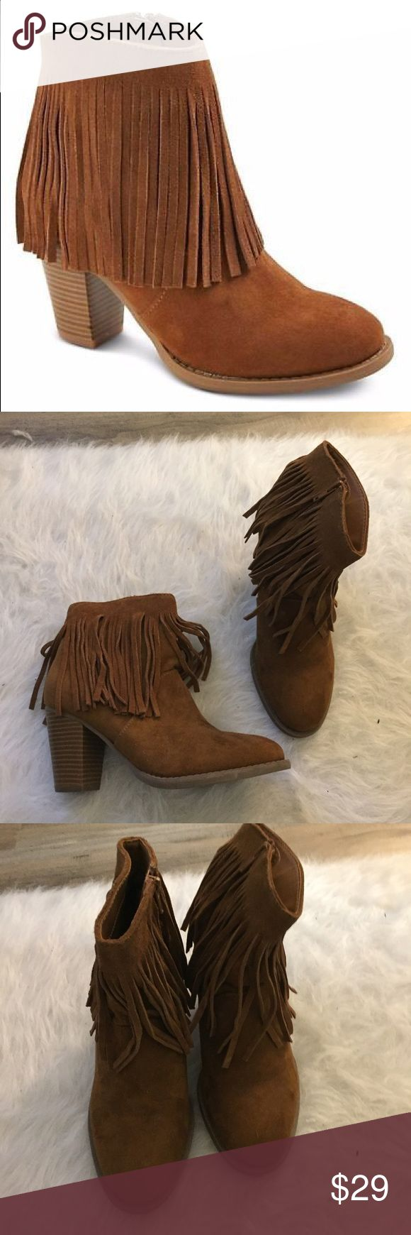 Heeled fringe boots Slip on some boho-chic style with these Women's Fringed Ankle Boots by Moss Supply Co. They feature a modern ankle height, 3-inch heel, fun fringe accents, faux suede finish and full side zipper that makes them easy to get on and off Mossimo Supply Co. Shoes Ankle Boots & Booties