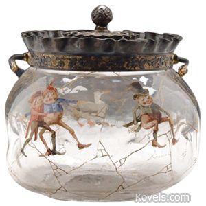 Antique Mt. Washington Biscuit Jar Cover, Napoli, Palmer Cox Brownies, gold enameled | Kovels.com