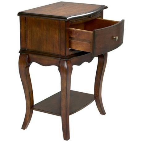 Cherry Finish Single Drawer Traditional End Table | LampsPlus.com