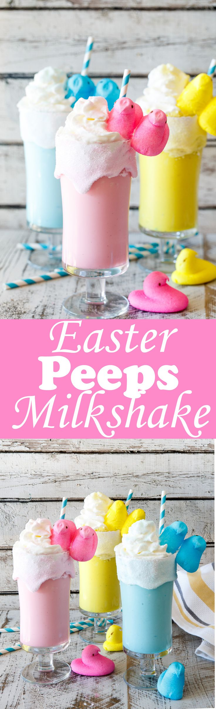 TOASTED MARSHMALLOW EASTER PEEPS MILKSHAKES RECIPE- With just a handful of ingredients, these kid-friendly Easter Peeps Milkshakes come together in just minutes and are perfect for dessert easy entertaining! ice cream treat