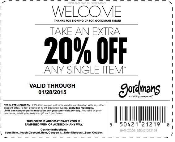 Pinned January 24th: Extra 20% off a single item at #Gordmans #coupon via The #Coupons App
