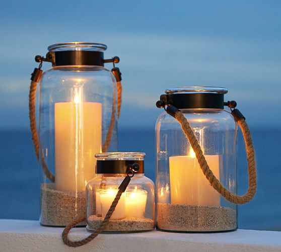 "Hyannis Lanterns - Bronze finish | Pottery Barn special $19 – $55 With the look of vintage canning jars that have been repurposed, these lanterns come in different sizes to cast an array of glows around the garden or patio. Small: 5.5"" diameter, 5.75"" high Medium: 6.5"" diameter, 11.5"" high Large: 6.5"" diameter, 15.5"" high Made of blown glass and stainless steel metal. Rope handle."
