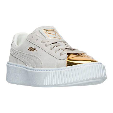 women's puma suede platform gold casual shoes finish line