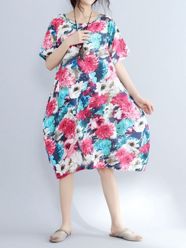 Qvc Floral Dresses Floral Printed O Neck Short Sleeve With Pockets