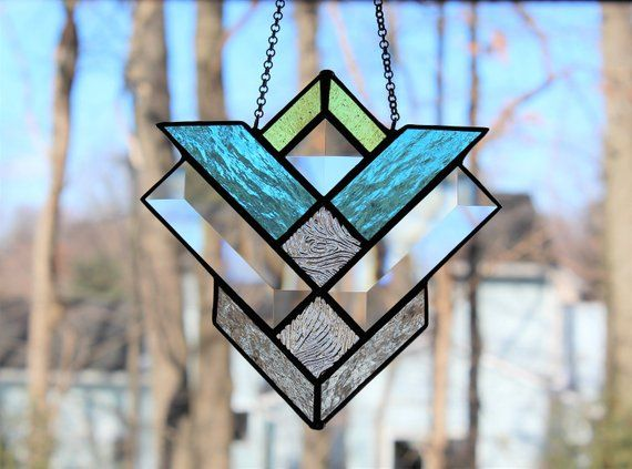 Glass Suncatcher Window Panel With Bevels Stained Glass Prisms