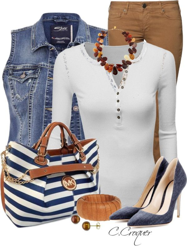 Brown and navy spring outfit combination